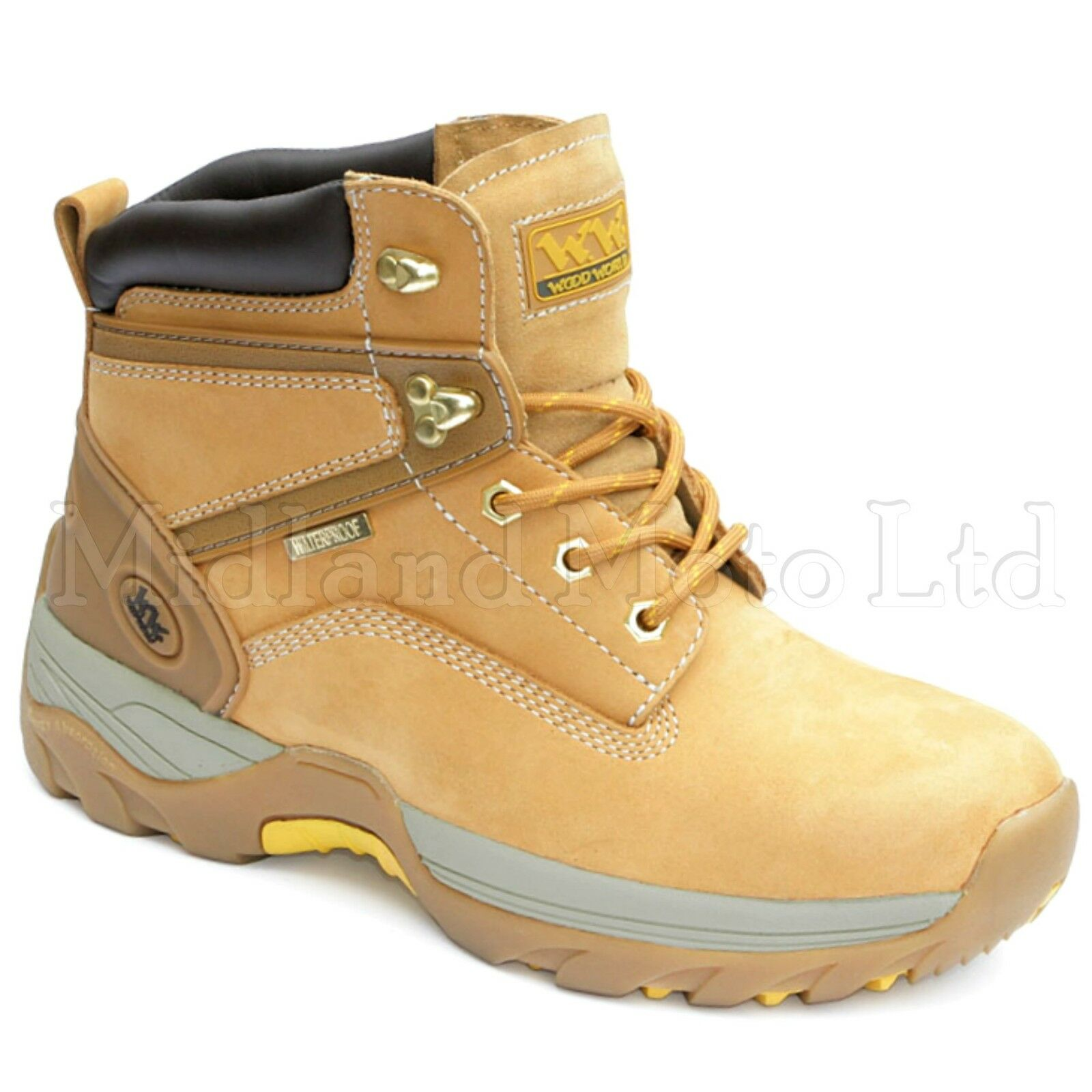 Wood di World Punta Acciaio Sicurezza impermeabile in pelle di Wood nabuk stivali, scarpe, WW11 62d22d