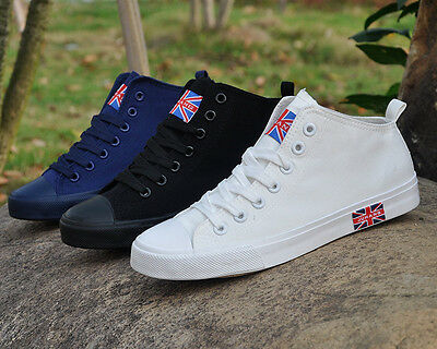 UK Flag Men's British flag High Help Sports Leisure Breathable Canvas shoes