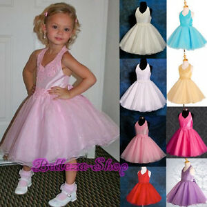 Beaded-Halter-Formal-Dress-Wedding-Flower-Girls-Pageant-Party-Size-2T-7-FG013