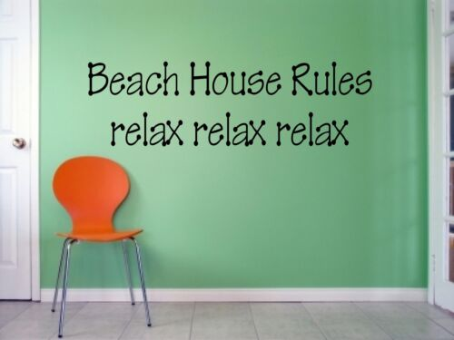 Hobby Room Wall BEACH HOUSE RULES Quote Vinyl Decal HB-20-C4 FDC