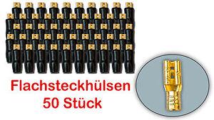50x Flachsteckhülsen 2,8 mm Klemmen Stecker vergoldet, isoliert