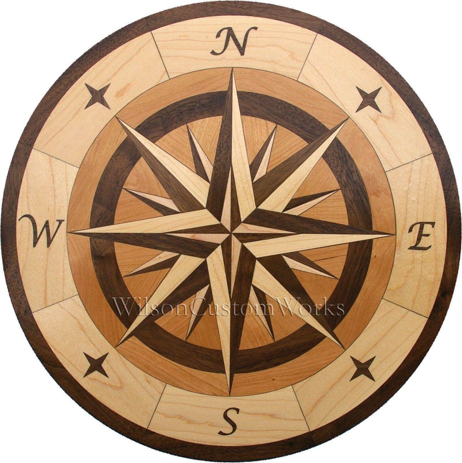 30  Wood Floor Inlay 96 Piece Star Compass Medallion kit DIY Flooring Table Box