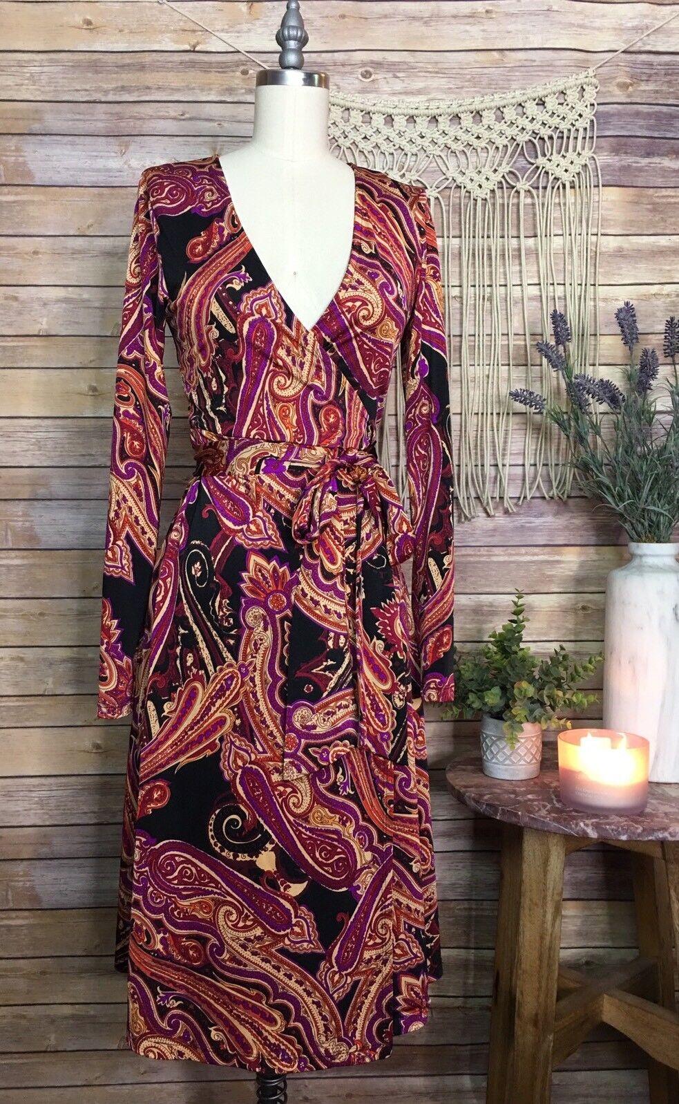 Veronica M Long Sleeve Printed Rosa Wrap Dress Cocktail Evening SZ XS