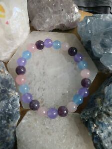 Dementia Alzheimer's Bracelet with Chalcedony Lepidolite Spiritual Support
