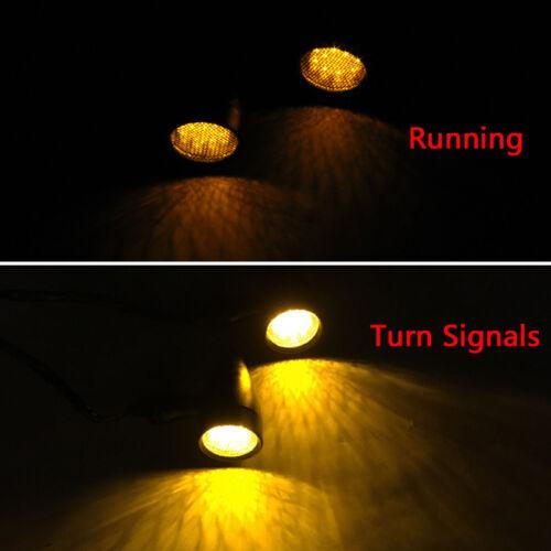 2pcs Black Bullet Motorcycle Turn Signals Amber 12V LED Indicator Blinker Lights