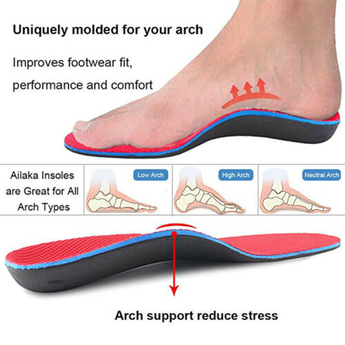 Sort Orthotic Shoe Insoles Flat Feet Foot Heel Support Inserts Pads Relief FCS