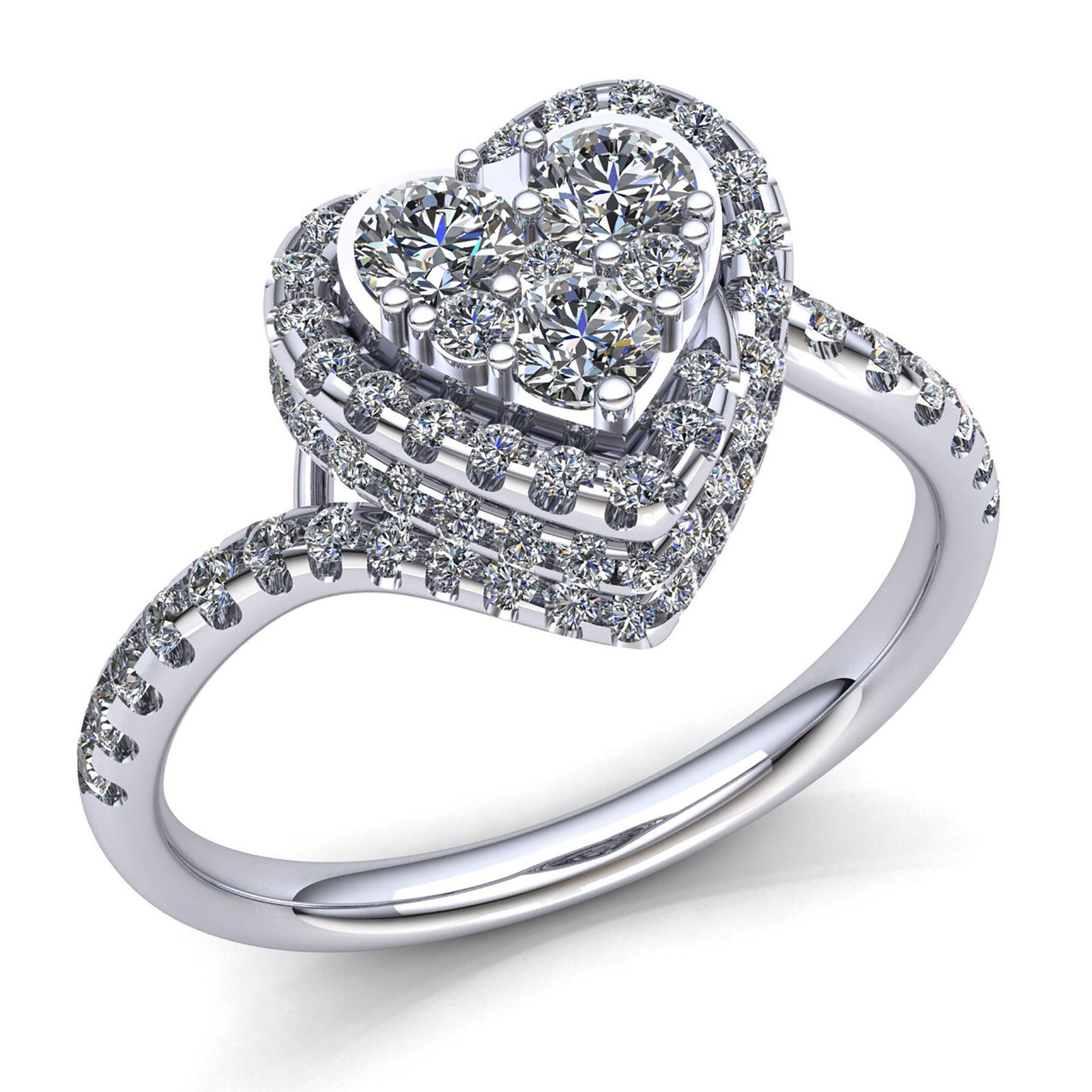 Natural 1carat Round Diamond Ladies Halo Cluster Heart Anniversary Ring 10K gold