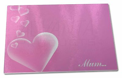 Pink Hearts Sentiment For 'mum' Extra Large Toughened Glass Cutting,, Mum-h3gcbl Lussuoso Nel Design