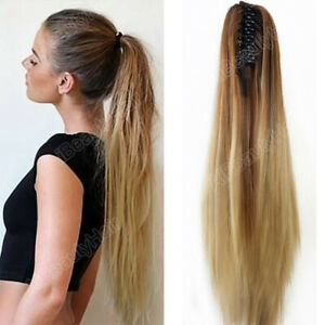 20-034-Claw-Clip-Ombre-Long-Straight-Ponytail-Hair-Extensions-Synthetic-Hairpiece