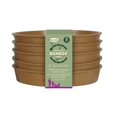 Haxnicks Bamboo Plant Saucers Biodegradable Compostable Select Size and Colour