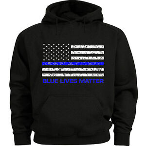 Thin Blue Line Hoodie Police USA Flag Shirt Blue Lives Matter Back the Blue Men's Hoodie Sweatshirt