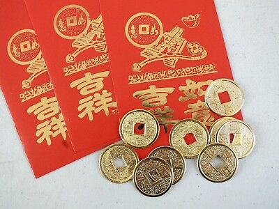 20 CHINESE GOLD LUCKY COIN RED ENVELOPE PARTY WEDDING BIRTHDAY NEW YEAR XMAS
