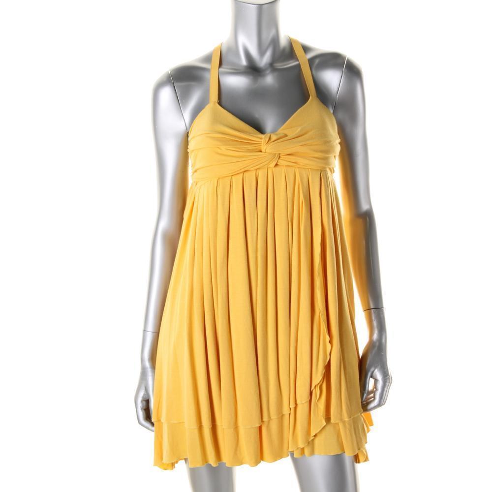 CATHERINE MALANDRINO 345  layered knit spaghetti straps yellow iro mini dress S