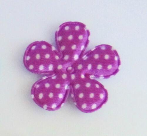 """50 Polka Dots Satin Basic Flower 1.5/"""" Applique//Craft//Padded L58-Dot Select Color"""