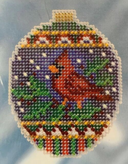 Crimson Cardinal Cross Stitch Ornament Kit Mill Hill 2018 Beaded Holiday
