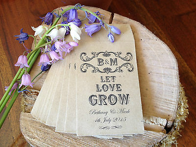 Personalised Wedding Favour Seed Packets x 10 Vintage Style/Shabby Chic/Rustic