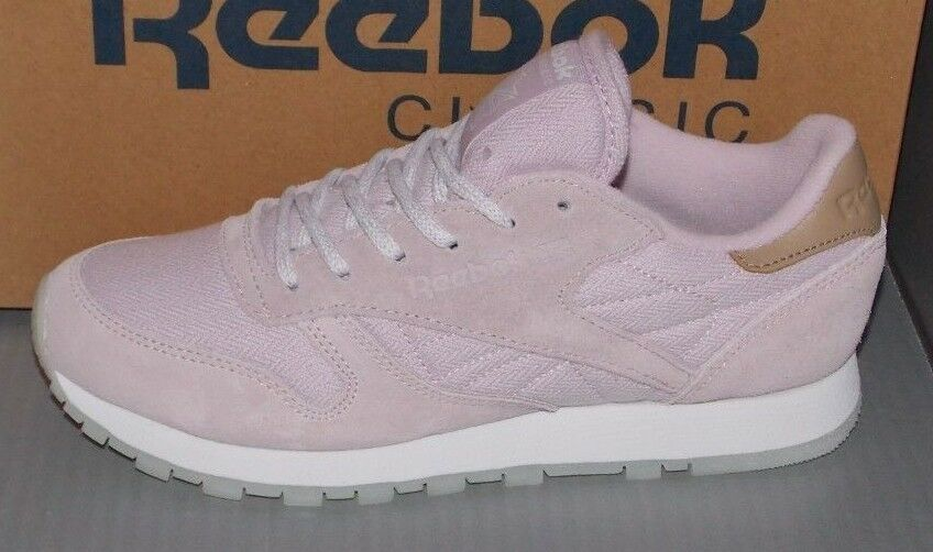 WOMENS REEBOK CL LEATHER SEA-WORN in colors LIGHT PURPLE / WHITE SIZE 6.5