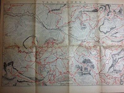 Cartina Geografica Dolomiti.Val Gardena Cartina Itinerario Guida Sciistica Delle Dolomiti 1930 40 Ebay