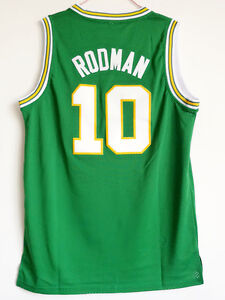 the best attitude b476a bb045 Details about Dennis Rodman Jersey 10 Oklahoma Savages White Green  Basketball Jersey Shirt