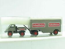 """Brekina  MB Unimog 411 mit Kofferanhänger """"Schultheiss"""" OVP (R7923)"""