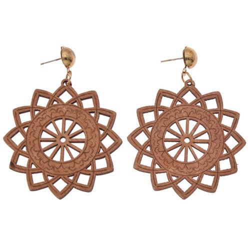 1 Paire ethnique en bois boucles d/'oreilles femmes Fashion bois Dangle oreille Goutte Rétro Bijoux
