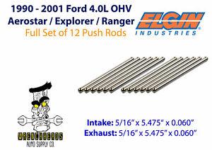 """Elgin PR-471 Set of 12 1990-2001 Ford 4.0L OHV V6 Engine Push Rods - 5.475"""""""