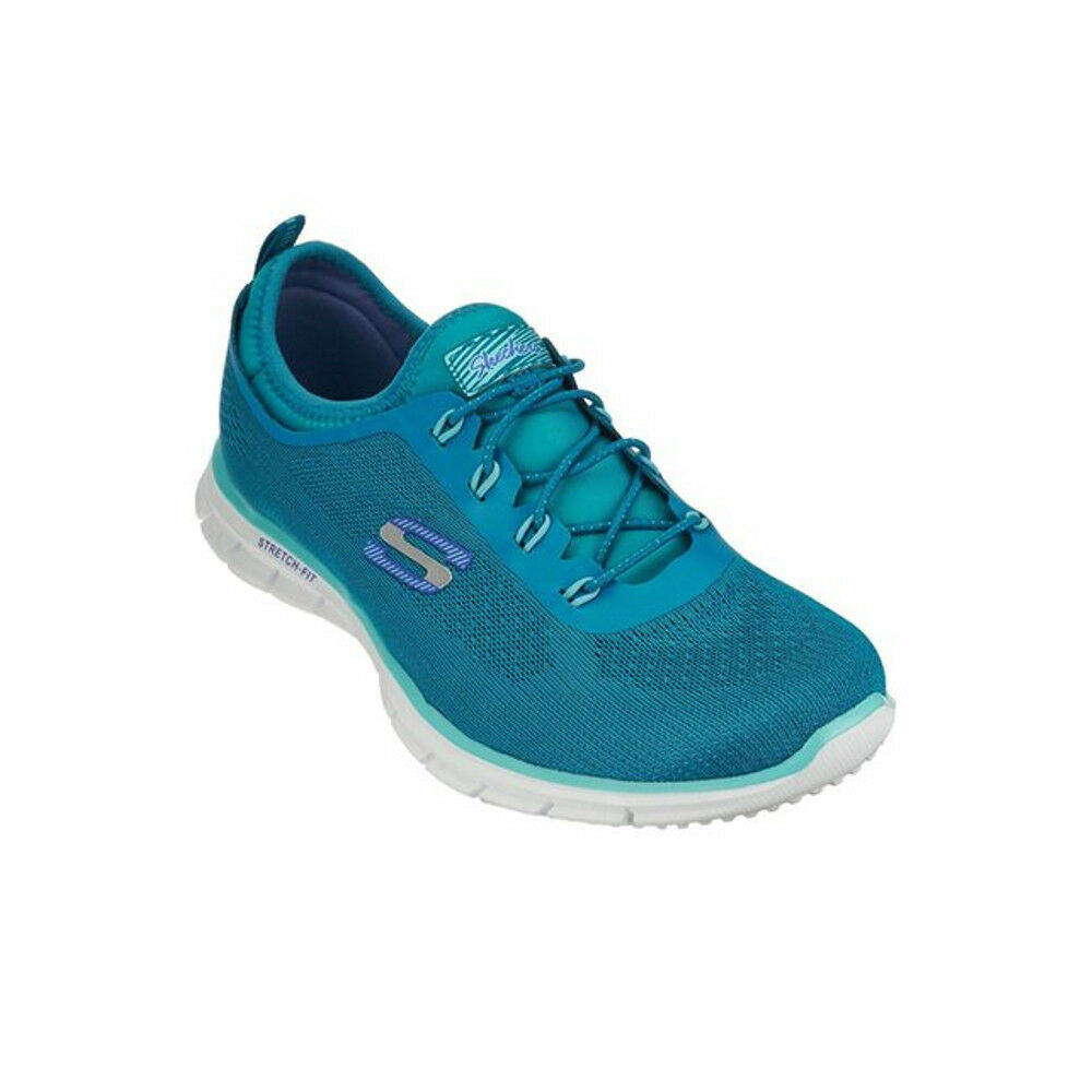 Neuf pour Femmes Skechers Zen Bungee Chaussures à Enfiler   Baskets Bleu Canard