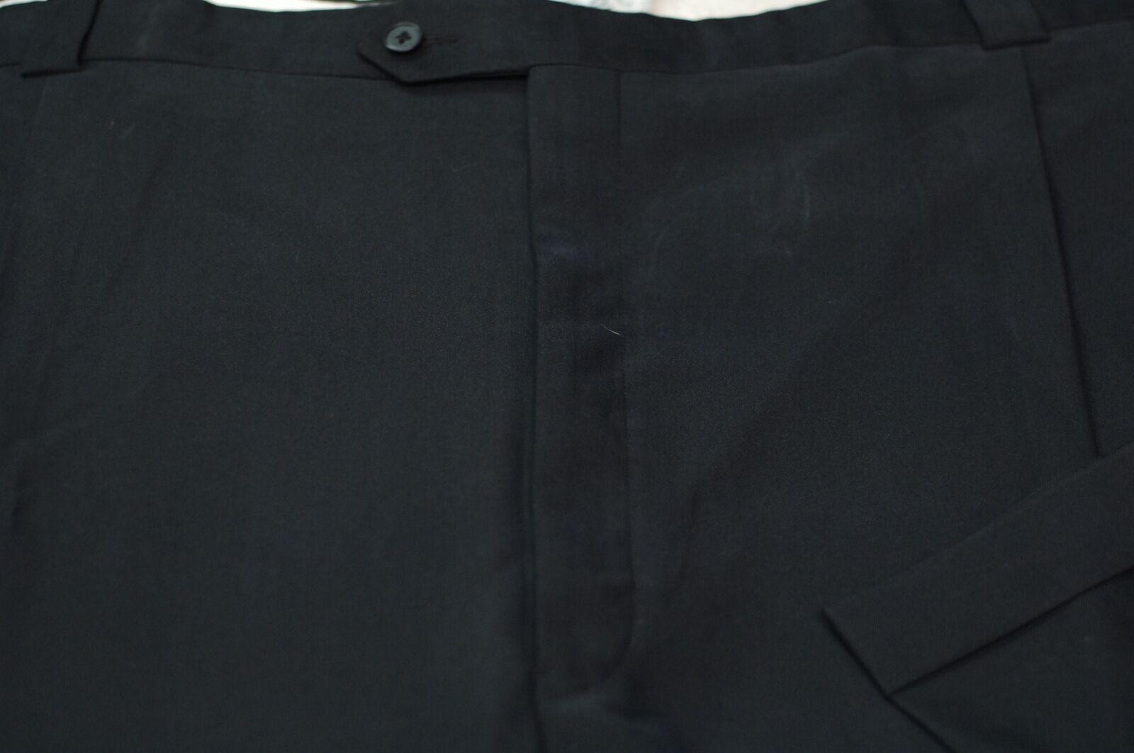 Tallia Uomo Lana Nero Gabardine Vestito Pieghettato Pantaloni 56 x 26 Grande &