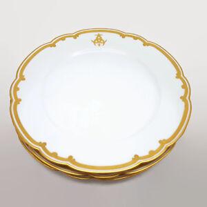 Set-of-3-Antique-Le-Rosey-Rue-de-la-Paix-Gold-Trimmed-Porcelain-Plates