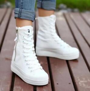 Womens-girl-casual-side-zip-Canvas-platform-High-top-sneakers-Heels-ankle-shoes