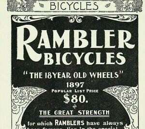 1897 RAMBLER  BICYCLE Gormully Jeffery Transportation Antique Bike PAPER AD 4292