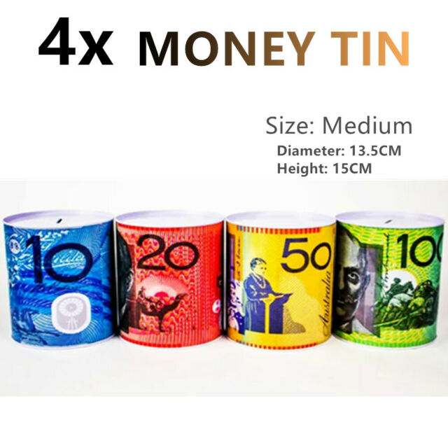 4x Medium Money Tin Saving Coin Metal Storage Box Piggy Bank Australian Dollar