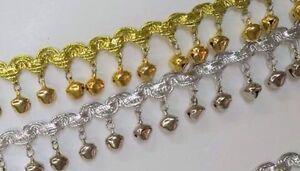 Metallic-Braid-with-Bells-Bell-Trim-SILVER-or-Gold-1-034-2-5cm-X-1-YARD