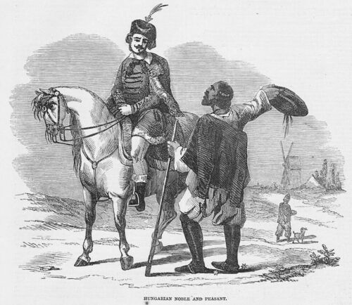 Antique Print 1848 HUNGARY Hungarian Noble and Peasant