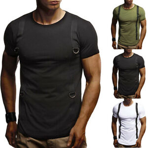 Mens-Shirt-Slim-Crew-Neck-Short-Sleeve-Muscle-Casual-Summer-Stretch-Tee-Tops
