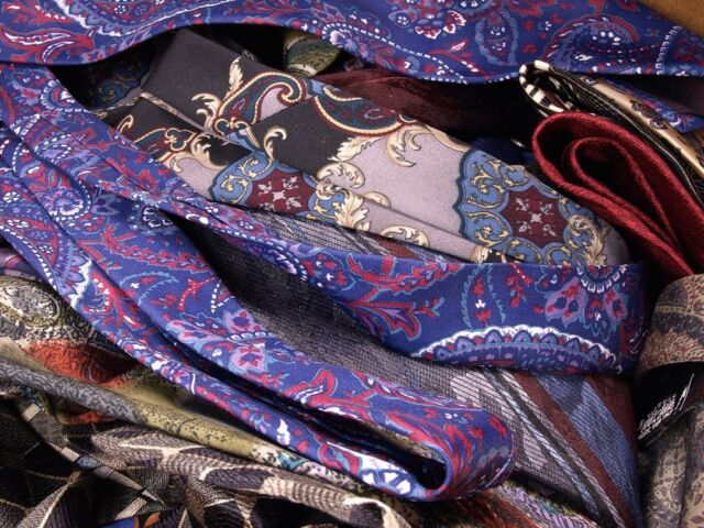 50 MEN 100% SILK DRESS Quilting Art Projects NECK TIE NECKTIE LOT CRAFT QUILT