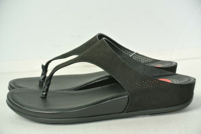 23e2e9d37818 NEW FitFlop Banda Perf Womens Sz 6 Black Fitness Thongs Sandals  130 ...