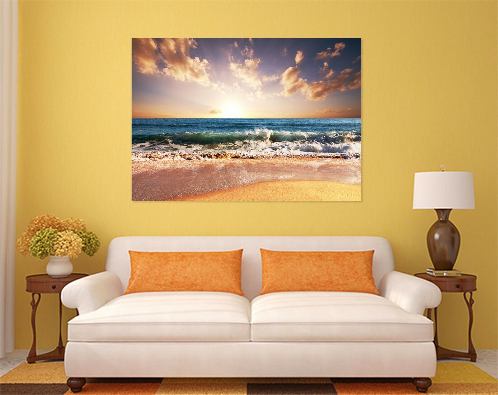3D Abendred Himmel Meer Welle 7 Fototapeten Wandbild BildTapete AJSTORE DE Lemon