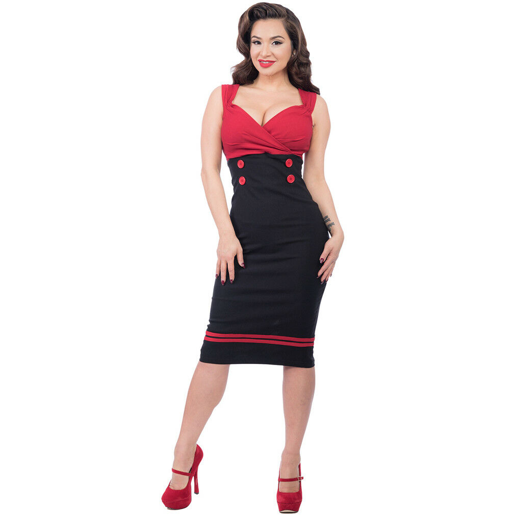 Steady Clothing Rockabilly Vintage Kleid Bleistiftkleid Set Sail Diva Dress Rot