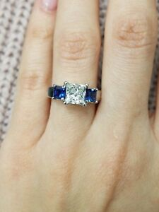 Princess-Cut-1-3-4-Ct-Diamond-amp-Blue-Sapphire-925-Silver-3-Stone-Engagement-Ring