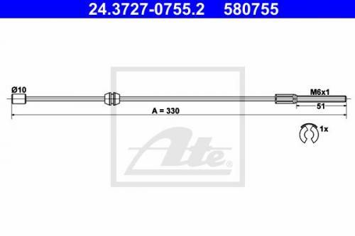 Seilzug, Feststellbremse für Bremsanlage Vorderachse ATE 24.3727-0755.2