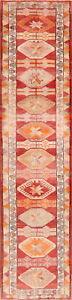 Geometric-Muted-Anatolian-Turkish-Runner-Rug-Hand-Knotted-Oriental-Carpet-3-039-x12-039