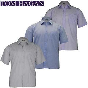 Mens-Big-King-Size-Tom-Hagan-Striped-Formal-Short-Sleeve-Shirt-3XL-4XL-5XL-6XL