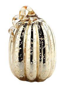 """New 9"""" Hand Blown Art Glass Mercury Gold Pumpkin Sculpture Figurine Harvest Fall"""