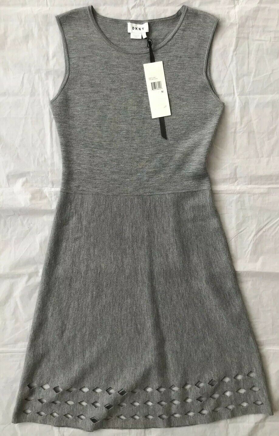 DKNY Women's Knit Fit Fit Fit and Flare Dress Grey Sz M NWT  258 5f4c4c