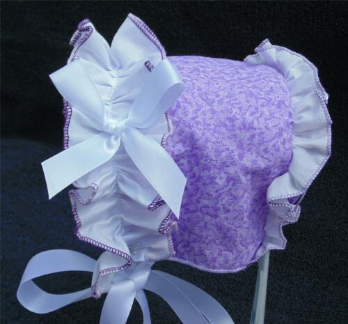 Lavender Print with White Ruffle Summer Fun Bonnet