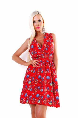4725 miniabito donna vestito abito Estivo Spiaggia smanicato effetto avvolgente fiori