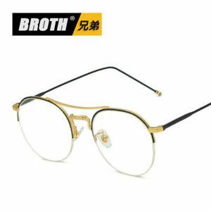 Vintage-Metal-Eyeglass-Frame-Half-Rim-Computer-Glasses-Spectacles-Men-Women-New