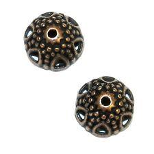 M3161p Antiqued Copper 12mm Round Open Flower Design Metal Bead Caps 20/pkg