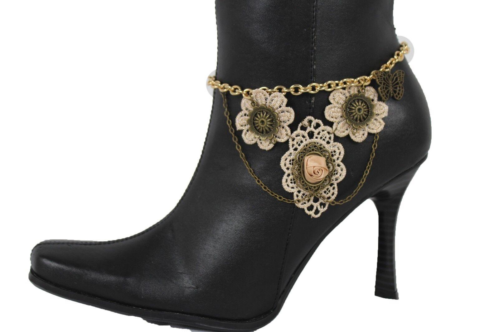Cute Women Gold Chain Boot Bracelet Shoe Charm Anklet Lace Punk Flower Butterfly